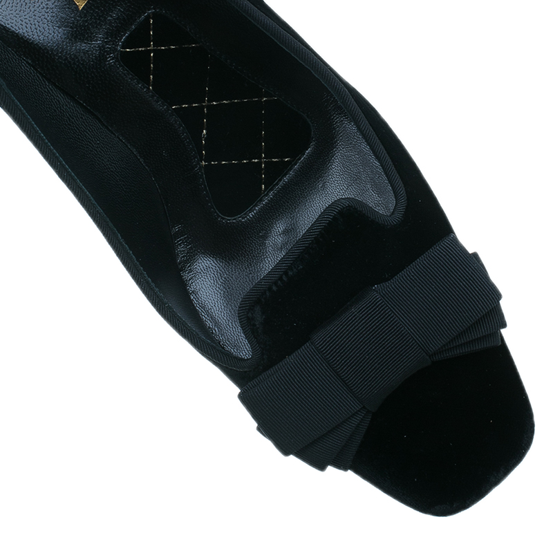 Saint Laurent Paris Black Velvet Bow Pumps Size 38.5