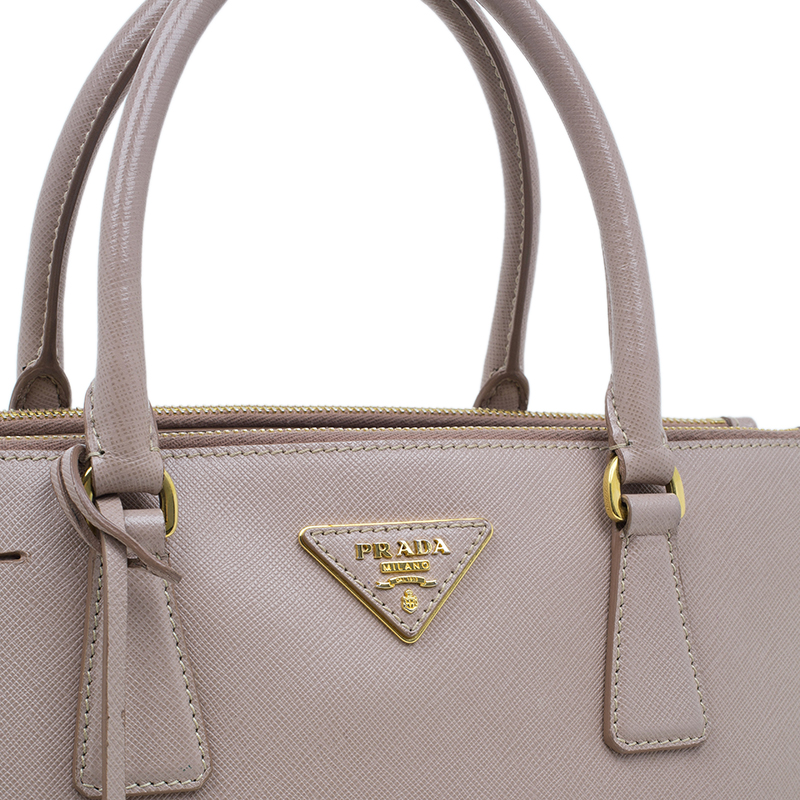 Prada Beige Saffiano Leather Lux Small Double Zip Tote