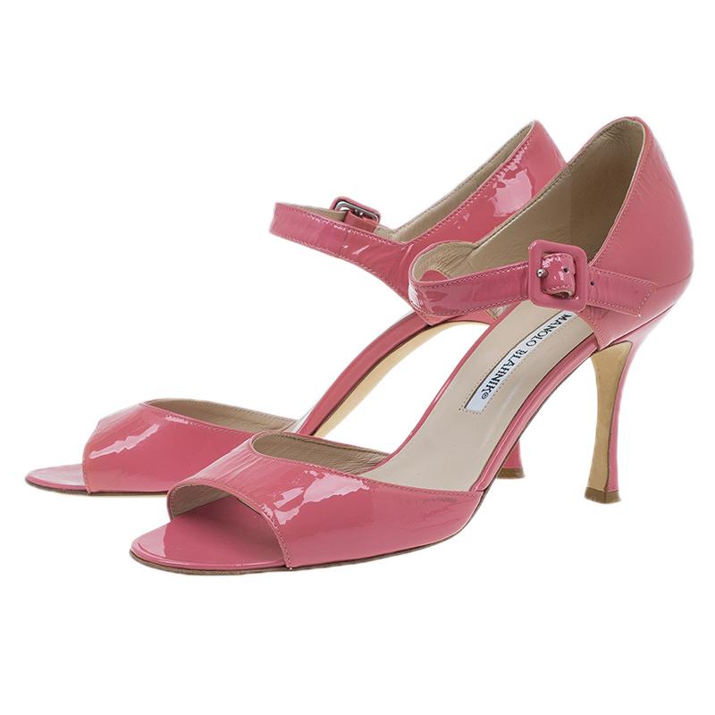 Manolo Blahnik Pink Patent Open Toe Mary Jane Pumps Size 39.5