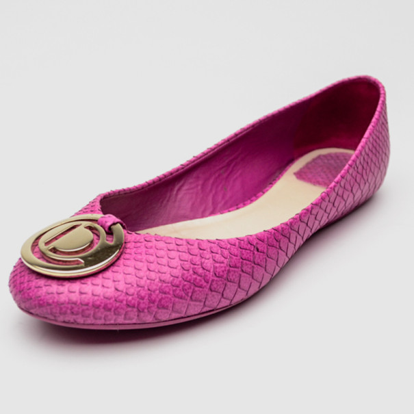 Christian Dior Embossed Leather Ballet Flats eastbay for sale zA1h4Ui