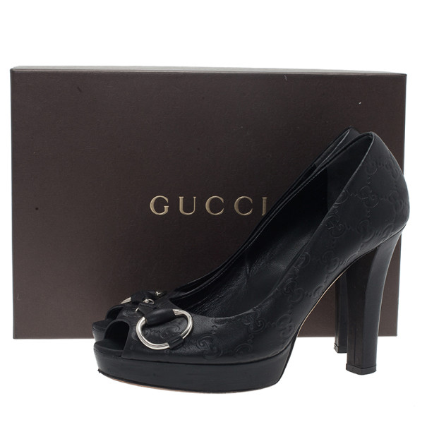 Gucci Black GG Leather New Sunset Peep Toe Platform Pumps Size 38