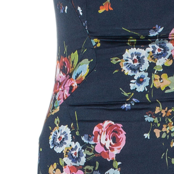 D and G Black Floral Sheath Dress S