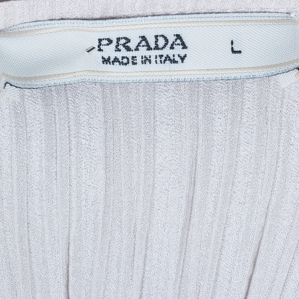 Prada Beige Textured Silk Dress L