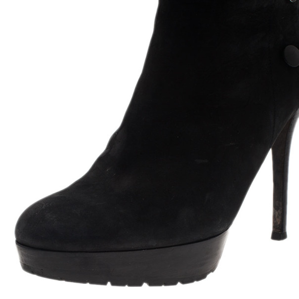 Dior Black Suede and Fur Ankle Boots Size 40