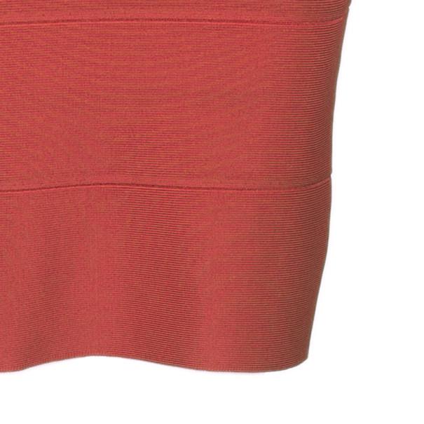 Herve Leger Red Off-Shoulder Bandage Dress XS