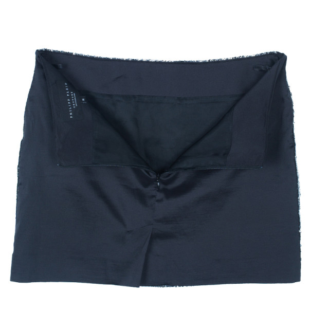 Philipp Plein Couture Silver Sequin Mini Skirt M