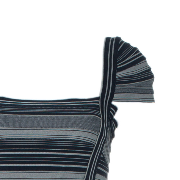 Herve Leger Moss Green Striped Bandage Dress M