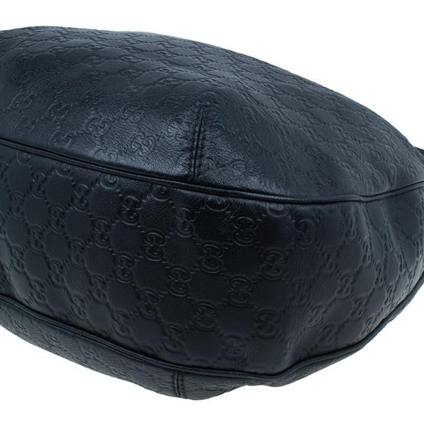Gucci Black Original GG Leather Guccisima Web Hobo