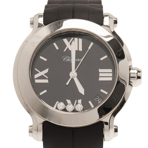 Chopard Black Stainless Steel Happy Sport Women's Wristwatch 35MM