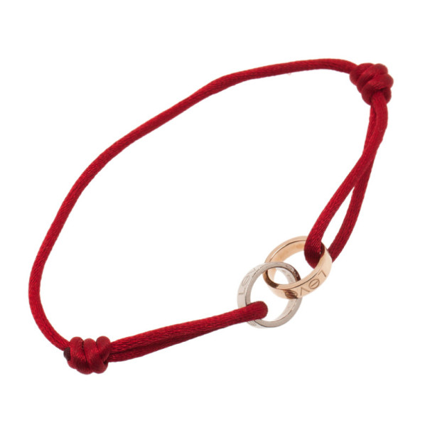 Cartier Love Charity 18K White and Rose Gold Cord Bracelet 22CM