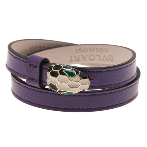 Bvlgari Serpenti Double Coiled Purple Leather Bracelet M 4932 At Best Price Tlc