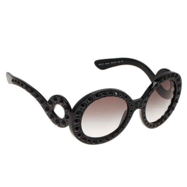 Prada Black Studded Oversized Round Baroque Sunglasses