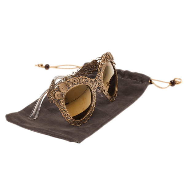 Dolce and Gabbana Gold Filigree Cat Eye Sunglasses