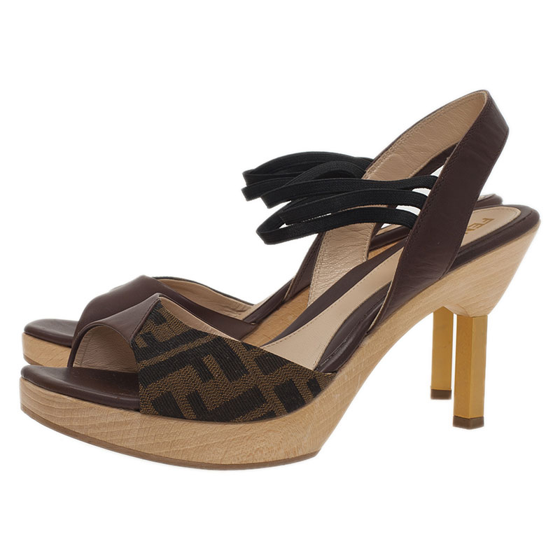 Fendi Zucca Canvas and Leather Sandals Size 38