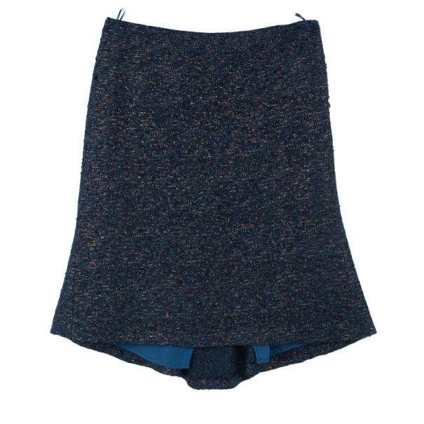 Moschino Navy Metallic Tweed Skirt Suit M