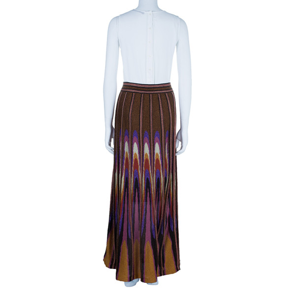 M Missoni Multicolor Metallic Crochet Knit Maxi Skirt M