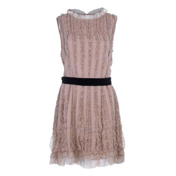 RED Valentino Beige Ruffle Tulle Dress L