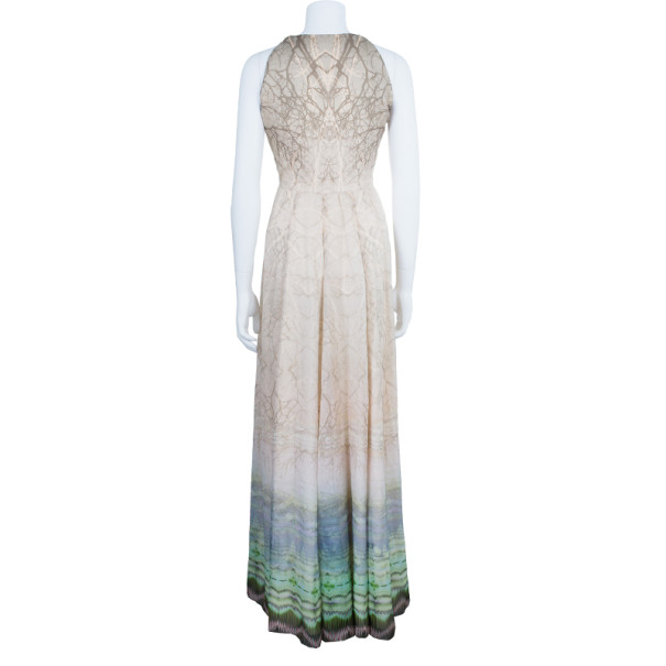 Matthew Williamson Beaded Neck Multi Print Gown M