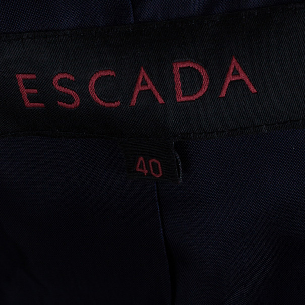 Escada Contrast Piped Navy Blazer S