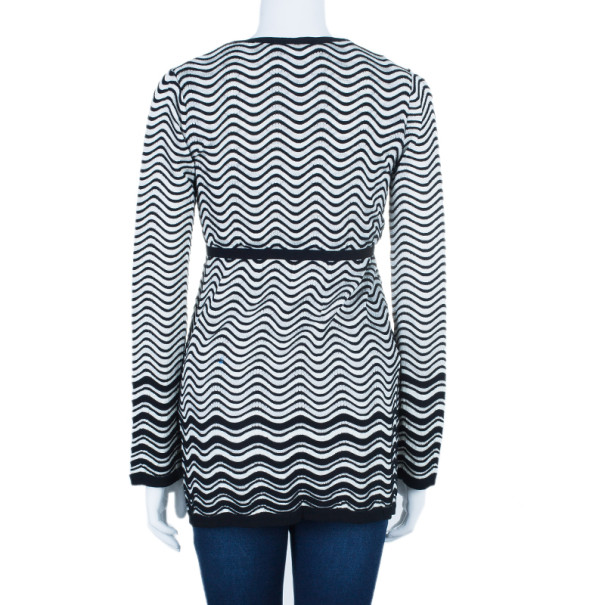 M Missoni Monochrome Wave Print Top and Cardigan Set M