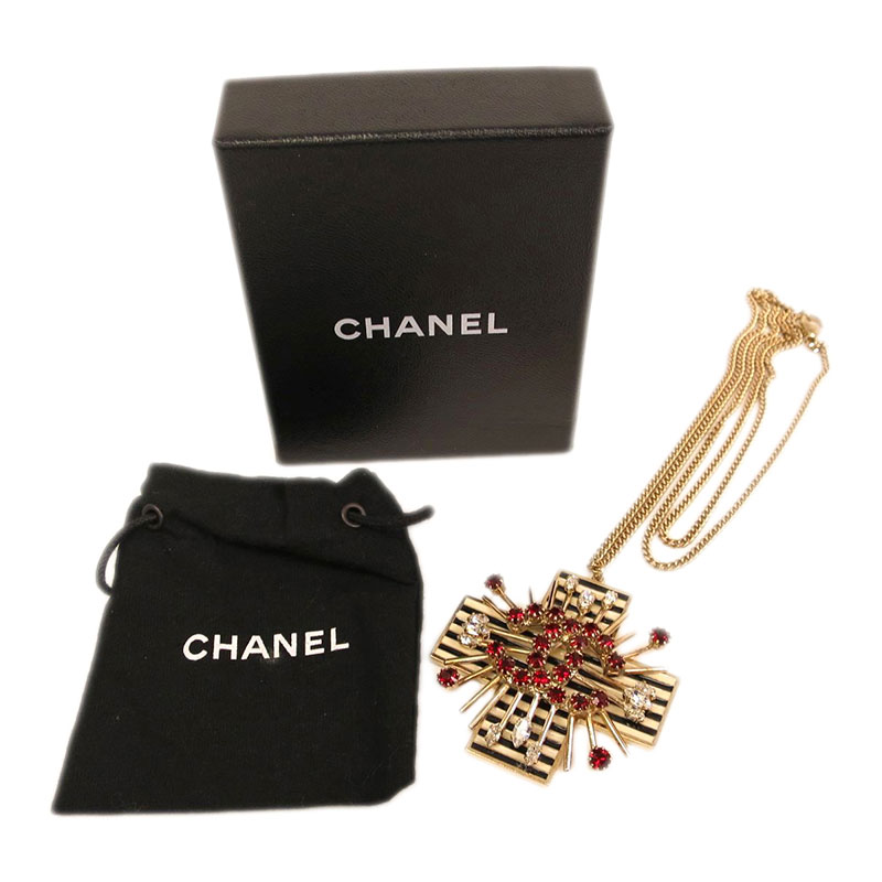 Chanel Red Crystal Gold Tone Long Necklace