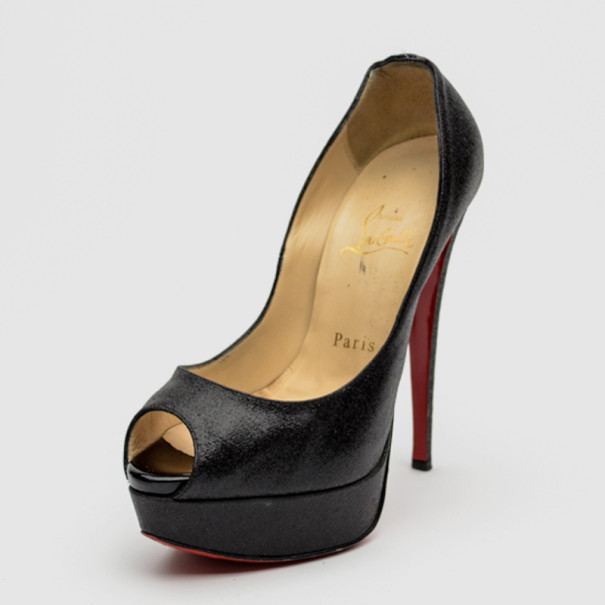 5b6b614d67d1 ... best price christian louboutin black mini glitter lady peep toe  platform pumps size 36. nextprev ...