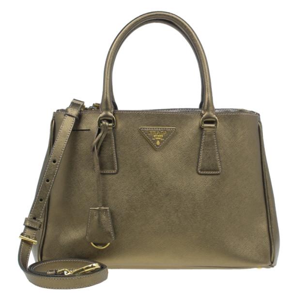 Prada Bronze Saffiano Lux Leather Small Double Zip Tote