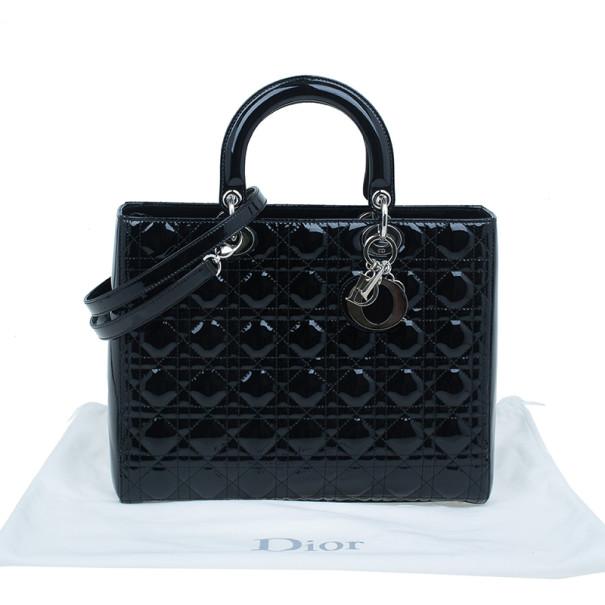 Dior Black Patent Leather Large Lady Dior Bag