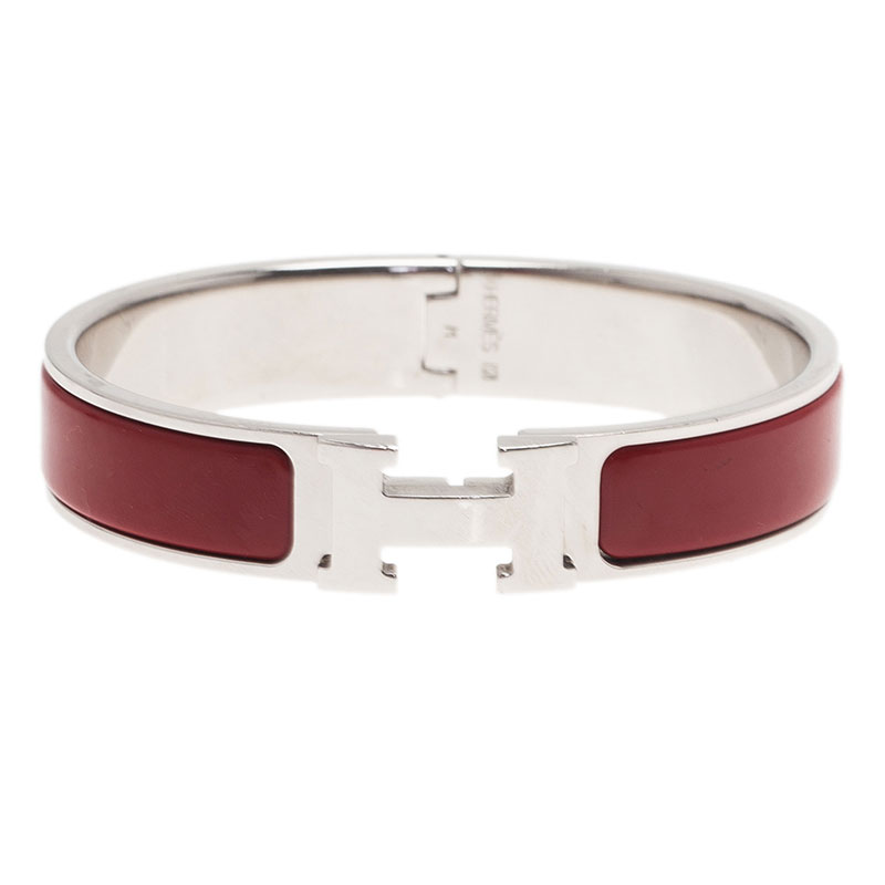 Hermes Clic Clac H Narrow Red Enamel Palladium Plated Bracelet