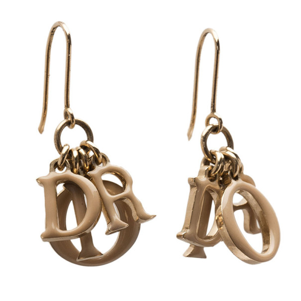 Dior Letters Charm Beige Enamel Gold Tone Earrings