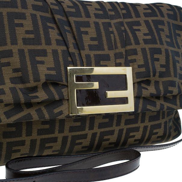 Fendi Brown Zucca New Forever Flap Shoulder Bag