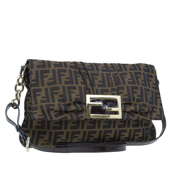 Fendi Brown Zucca New Forever Flap Shoulder Bag