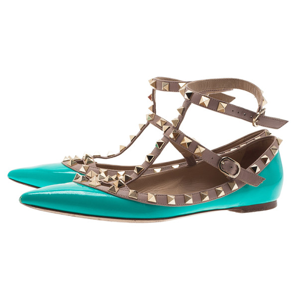 Valentino Turquoise Patent Rockstud Ballet Flats Size 37.5