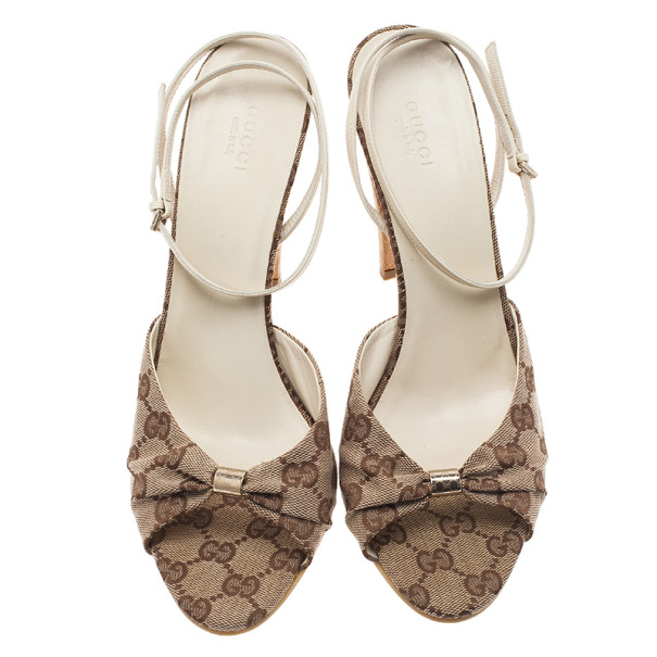 Gucci Beige GG Canvas Ankle Strap Sandals Size 41