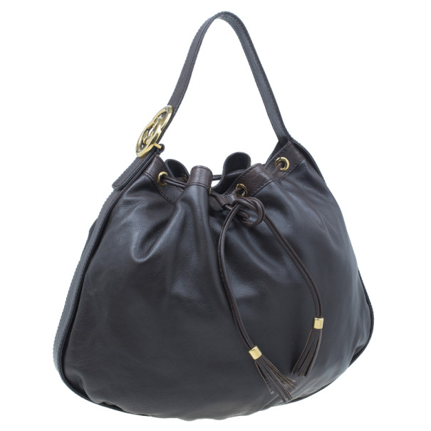 Gucci Brown Leather Interlocking Icon Drawstring Hobo