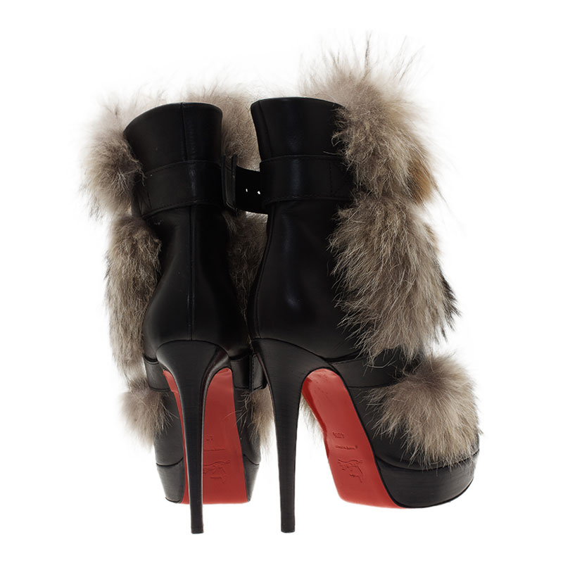 Christian Louboutin Black Leather Toundra Coyote Fur Trimmed Ankle Boots Size 40.5