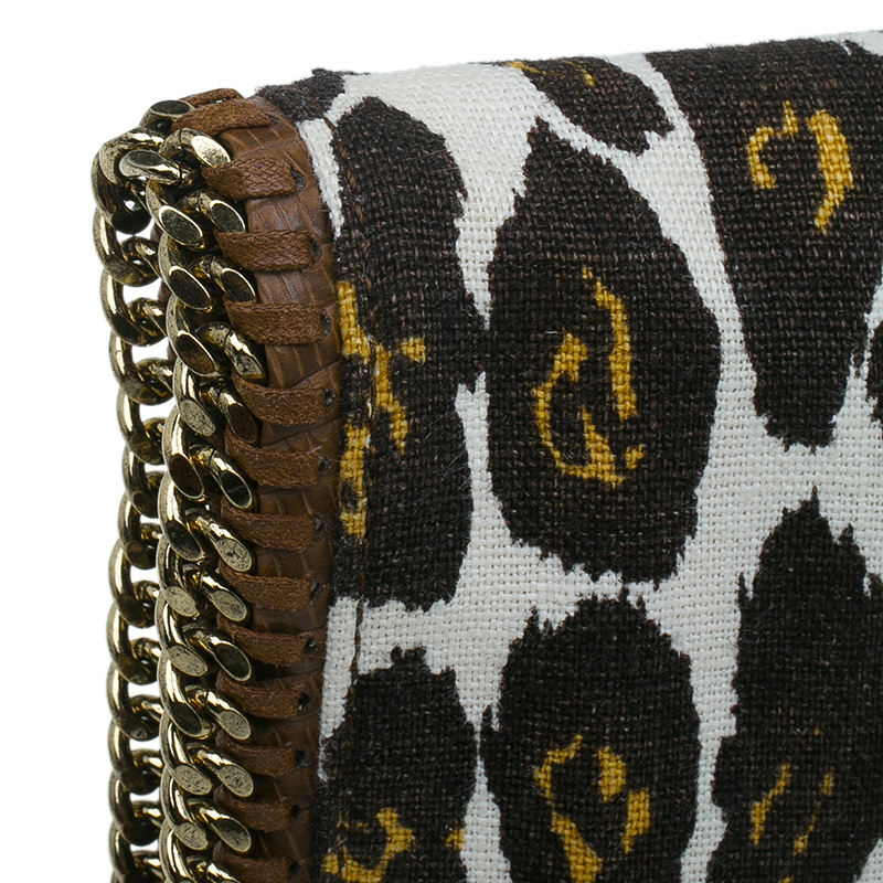 Stella Mccartney Leopard Print Canvas Faux Leather Trim Foldover Clutch