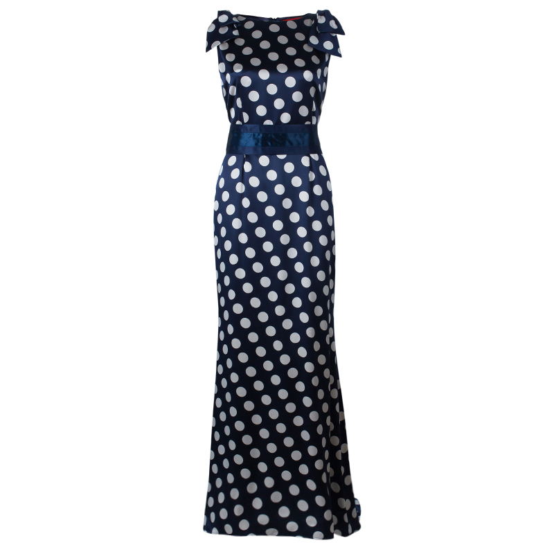 Carolina Herrera Blue Polka-dot Belted Gown M