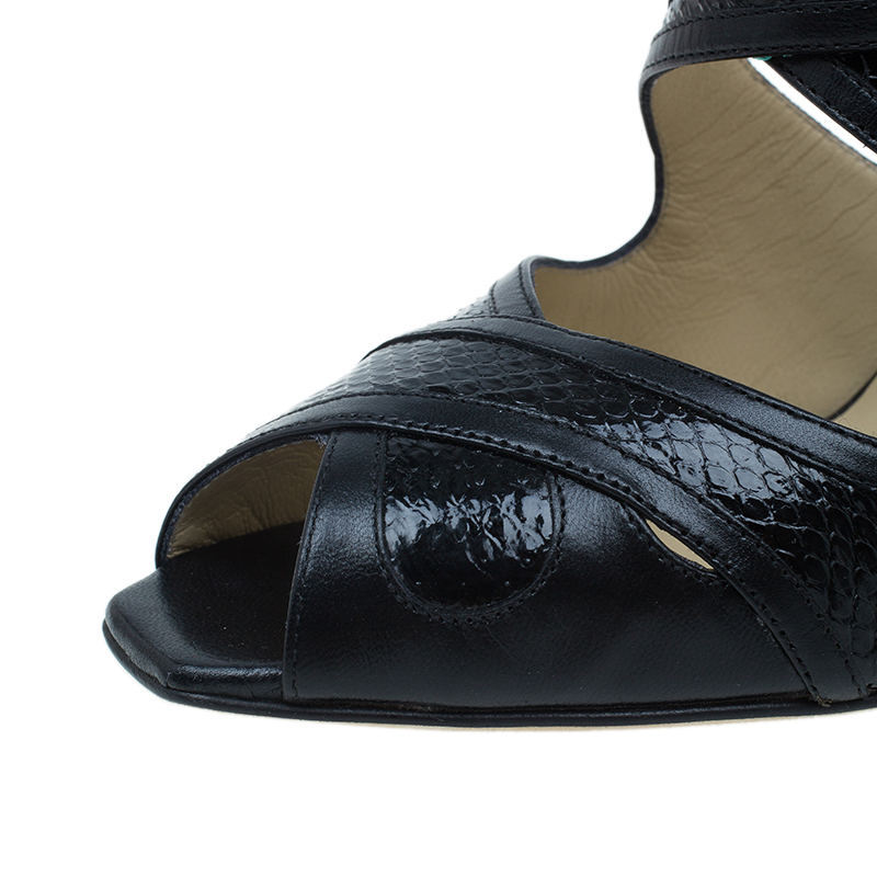 Jimmy Choo Black Leather Criss Cross Sandals Size 39.5