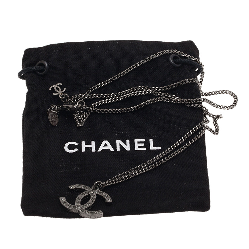 Chanel CC Crystal Silver Tone Necklace