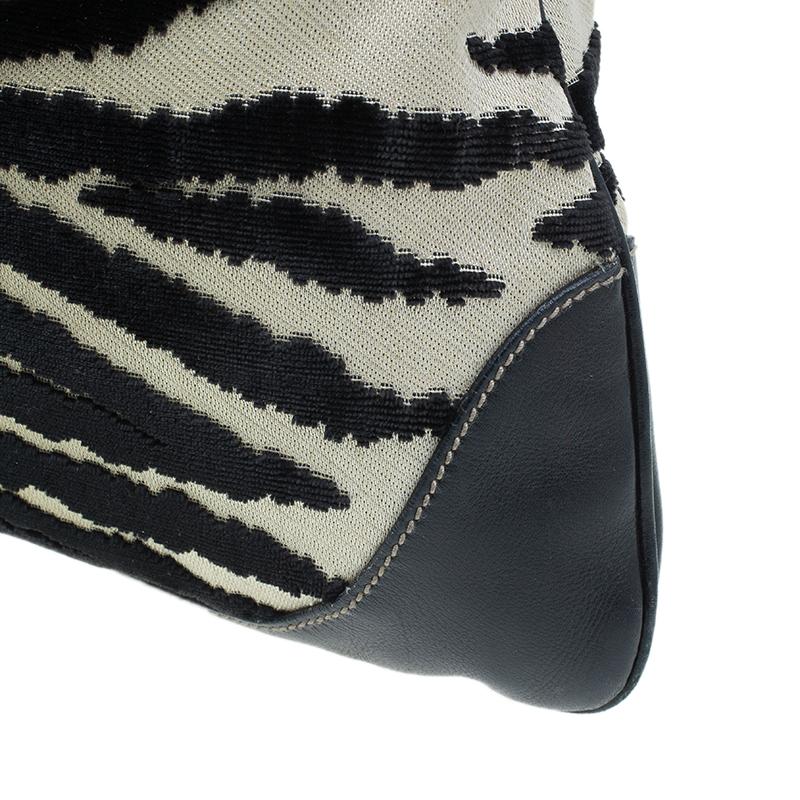 Gucci Black Fabric/Leather Zebra Print Jackie O Hobo Bag