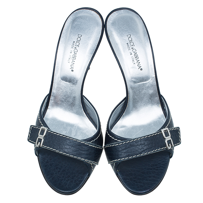 Dolce and Gabbana Navy Stitched Leather Open Toe Sandals Size 38
