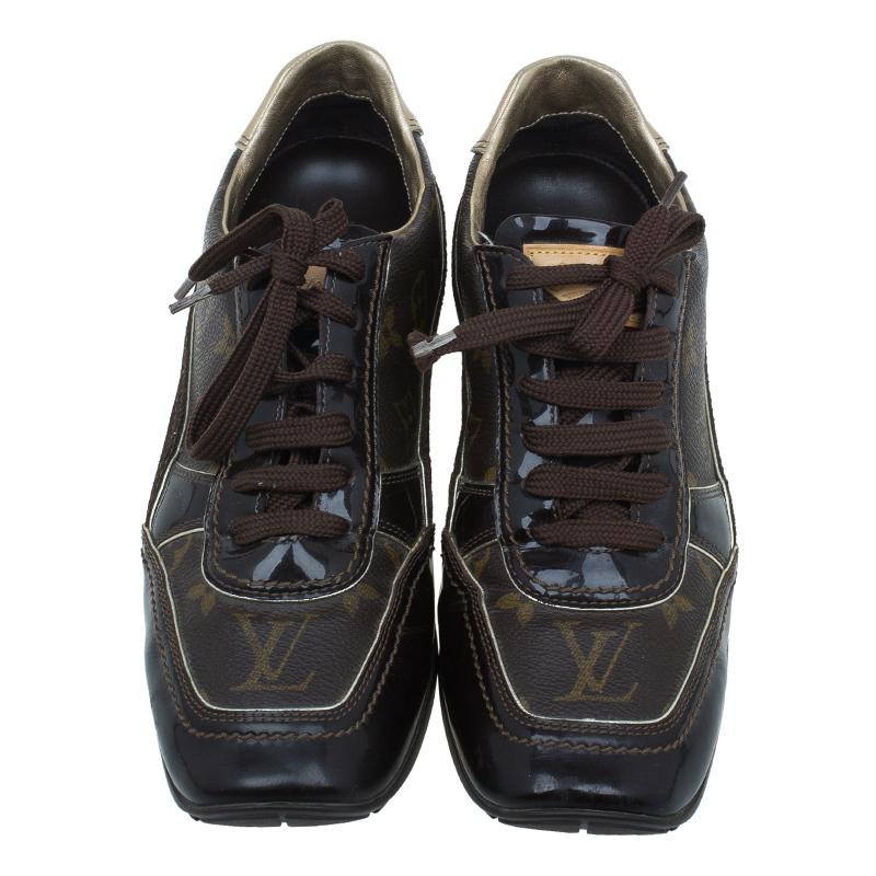 Louis Vuitton Brown Monogram Square Toe Sneakers Size 38.5