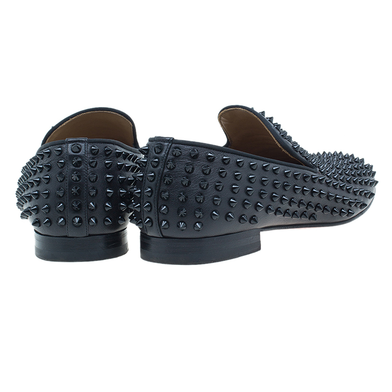 Christian Louboutin Black Rollerboy Spikes Smoking Slippers Size 43