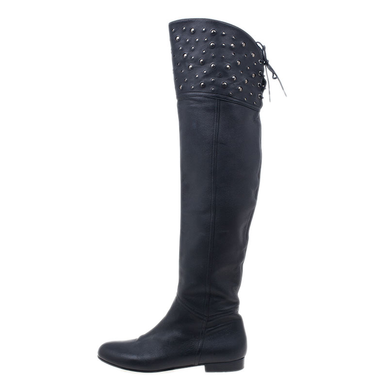 Valentino Black Studded Leather Over the Knee Flat Boots Size 37.5