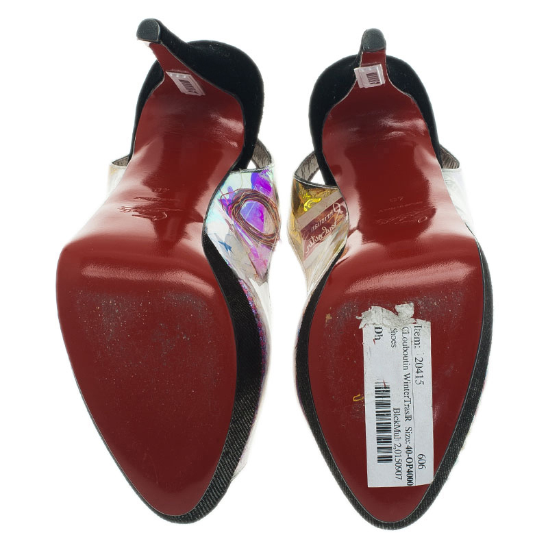 Christian Louboutin Black Winter Trash Platform Slingback Sandals Size 40
