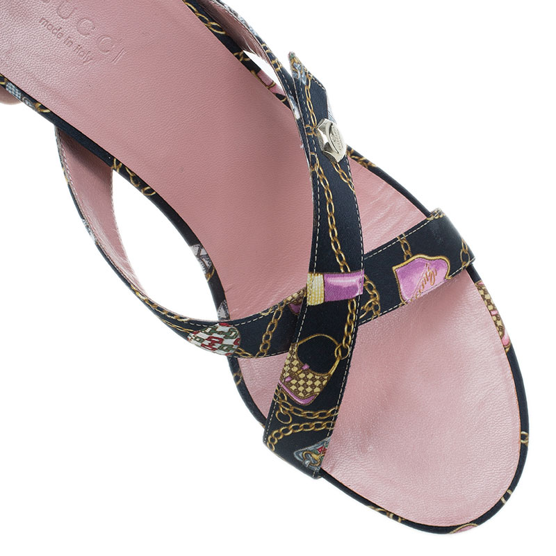 Gucci Techno Charms Print Satin Crisscross Slides Size 37.5