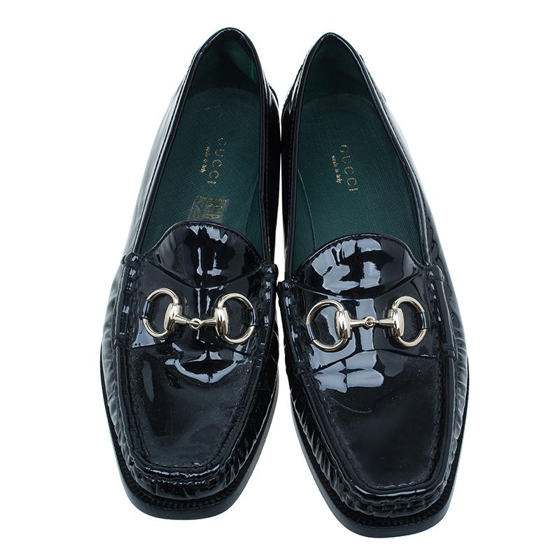 Gucci Black Patent Horsebit Loafers Size 37