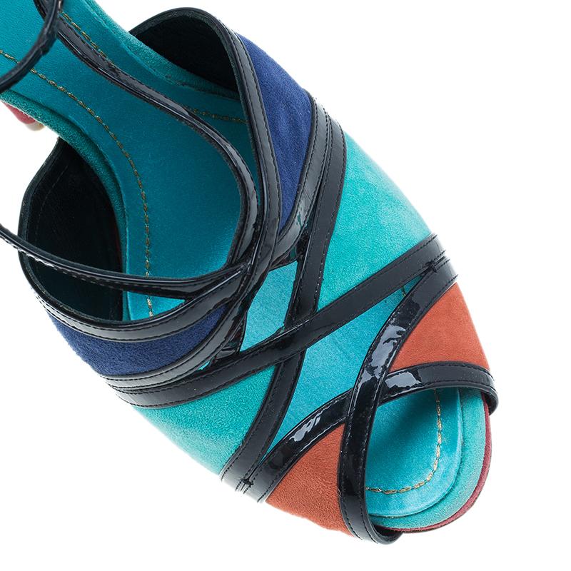 Dior Colorblock Suede Portofino Strappy Sandals Size 39