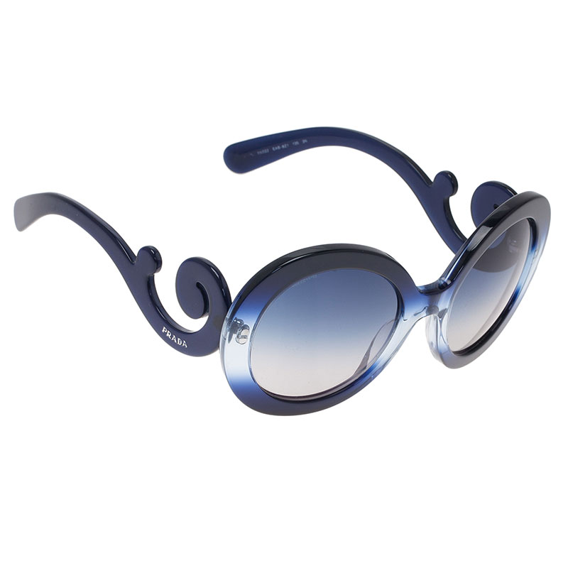 Prada Blue Round Baroque Sunglasses